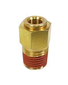 """Straight Brass Push to Connect Air Hose Fitting 1/4"""" NPT x 1/4"""" Tube"""