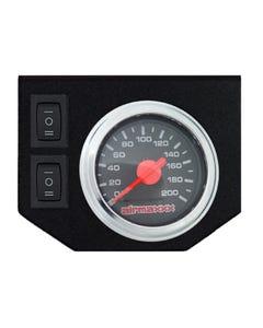 Air Ride Suspension Dual Needle Gauge Black 200 psi, Panel & 2 Rocker Switches
