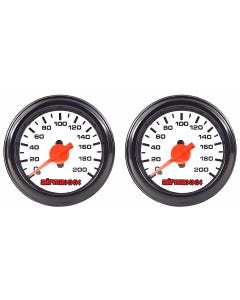 2 Single Needle Air Ride Suspension Gauges 200 psi White Face airmaxxx