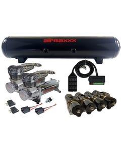 Chrome 480 Air Compressors Manifold 5 Gallon Air Tank & 9 Switch Box
