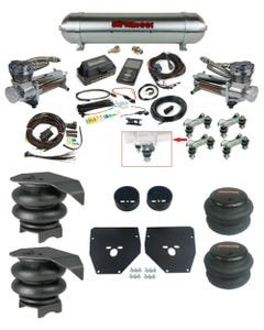 Complete Air Ride Suspension Kit w/480 Compressors & 27685 Air Lift 3P For 1973-87 C10