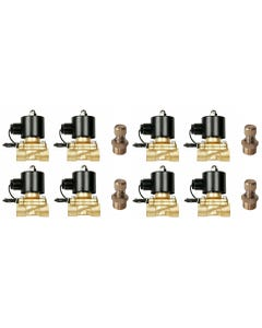 """Eight Brass Valves W/ Slow Down Fittings 1/2""""npt Air Bag Suspension System 12V"""