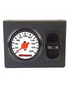 Air Ride Dual Needle Air Gauge White Face 200psi, Panel & 1 Paddle Switch