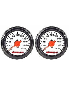 "Two Air Gauges Dual Needle 200 psi Air Ride Suspension System 2"" White Face LED"