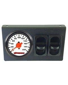 Air Ride Dual Needle Air Gauge White Face 200psi, Panel & 2 Paddle Switches