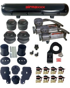 "Air Suspension Kit For 65-70 Impala 1/2"" Valves Blk 7 Switch Pewter Compressors"
