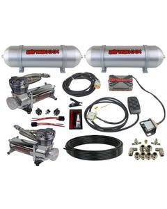 airmaxxx 480 chrome air compressors, seamless aluminum tanks, X4 valve manifold & 7 switch box