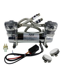 ASI Hydra Air Compressor Dual Head Chrome Air Ride Suspension 90/120 Pressure Switch