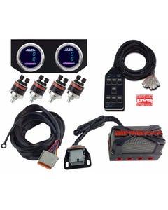 airmaxxx X4 Solenoid Valve Air Manifold, Wire Harness, Dual Digital Gauges w/ Chrome Bezel & AVS 7 Blk Switchbox