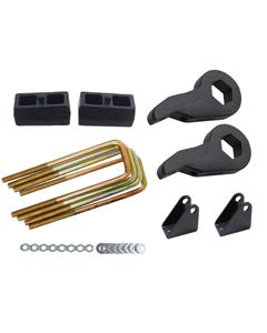 "Lift Kit Black Torsion Keys Shock Extend 2"" Cast Blocks 00-10 Chevy 8 Lug Trucks"
