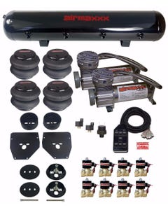 Air Ride Suspension Kit 1963 - 1972 Chevy C10 3/8 Valves Blk 7 Switch Bags Tank