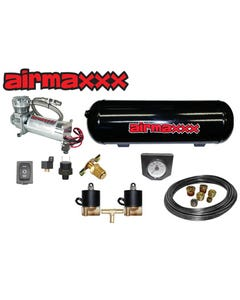 Chrome AirMaxxx Tow Assist in Cab Air Level Control Electric Switch Kit, Gauge Monitor with 5 Gallon 5 Port Tank 1