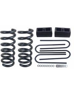 """3/2 Drop Kit S10 2WD 4 Cyl 3"""" Front Springs 2"""" Rear Cast Steel Blocks Ubolts"""