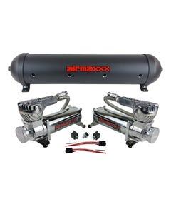5 gallon aluminum air tank black & dual air compressors 580 chrome airmaxxx