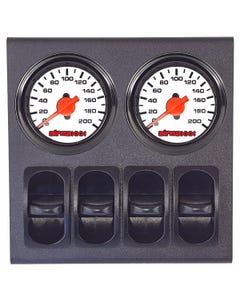 airmaxxx Air Ride Suspension Dual Needle White Gauges, Display Panel & 4 Paddle Switches