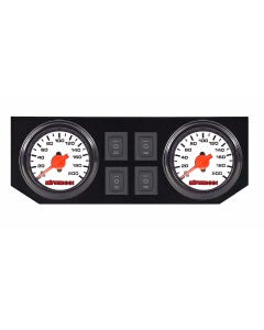 Air Ride Suspension Dual Needle White Gauges, Display Panel & 4 Rocker Switches airmaxxx