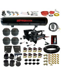 58-64 Impala Air Ride Suspension Kit Valves 7 Switch 580 Black Compressors Tank
