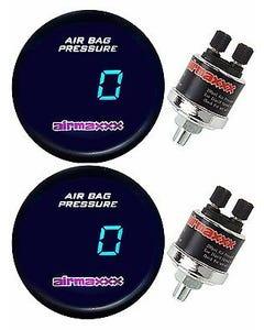 2 Single Digital Display Air Ride Suspension Gauges 0-200 psi For Air Bags, Tank