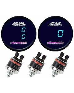 2 Digital Air Ride Gauges 1 Single Display, 1 Dual Display Air Suspension System