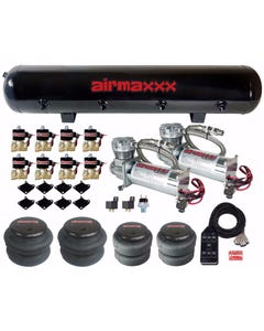 "Airmaxxx 480 Chrome Air Compressors 1/2"" Valves 2500 & 2600 Black 7 Switch Tank"