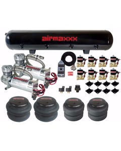 Airmaxxx 480 Chrome Air Compressors 3/8 Valves 2500 & 2600 Chrome 7 Switch Tank