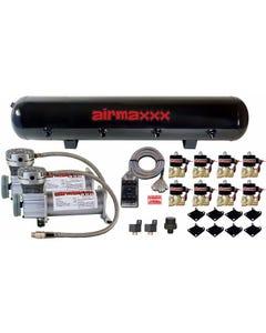 """airmaxxx Air Ride Pewter Air Compressors 1/2""""npt Valves Clear 7 Switchbox & Tank"""