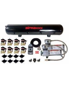 "airmaxxx Pewter 400 Air Compressors 3/8"" Valves Chrome 7 Switchbox & Tank"