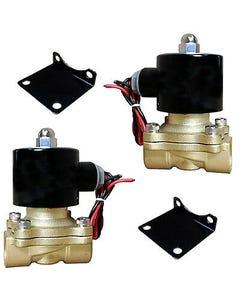 "air ride suspension 2 brass valves 1/2""npt electric solenoid & mount brackets"