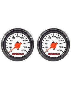 "2 Air Gauges Single Needle 200 psi Air Ride Suspension System 2"" White Face LED"