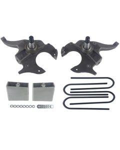 "S10 Drop Spindles & Aluminum Blocks 2"" Front 4"" Rear Suspension Lowering Kit 2WD"