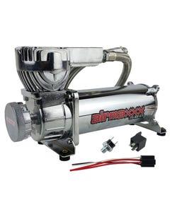 airmaxxx 580 Chrome Air Ride Suspension Compressor Single with 165/200 pressure switch