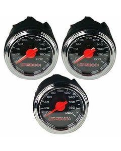 "Three Air Gauges Dual & Single Needle 200psi Air Ride Suspension System 2"" Black"