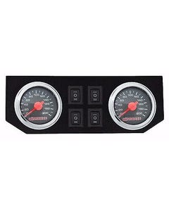 Air Ride Suspension Dual Needle Gauges Panel 200psi 4 Rocker Switch Control fbss
